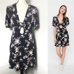 NWT Express Floral Cut Out Tie Front Mini Dress M